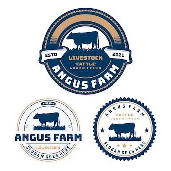 Modelo de logotipo do emblema do círculo do gado da fazenda