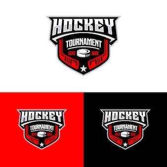 Modelo de logotipo do esporte torneio de hóquei.