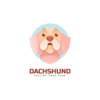 Modelo de logotipo do estilo colorido gradiente dachshund