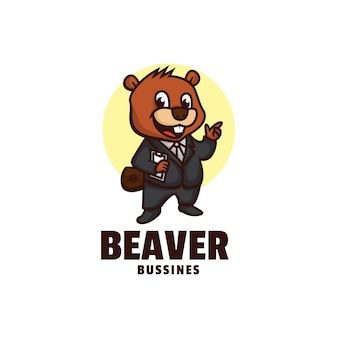 Modelo de logotipo do estilo de desenho animado da mascote de negócios beaver