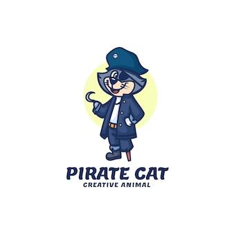 Modelo de logotipo do estilo de desenho animado da mascote do gato pirata