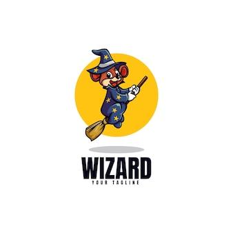 Modelo de logotipo do estilo de desenho animado da mascote do rato feiticeiro