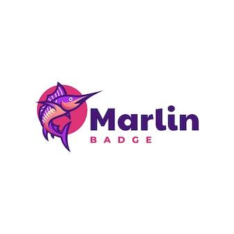 Modelo de logotipo do estilo de mascote simples marlin.