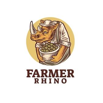 Modelo de logotipo do fazendeiro rinoceronte