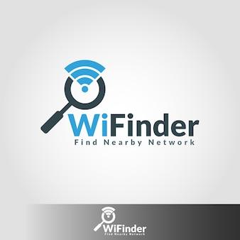 Modelo de logotipo do finder de rede