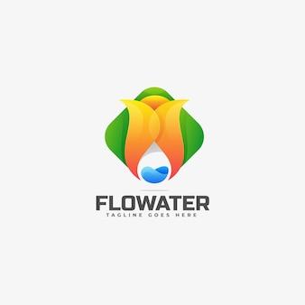 Modelo de logotipo do flow water gradient colorful style