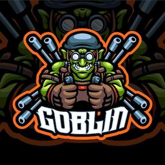 Modelo de logotipo do gunner goblin mascot