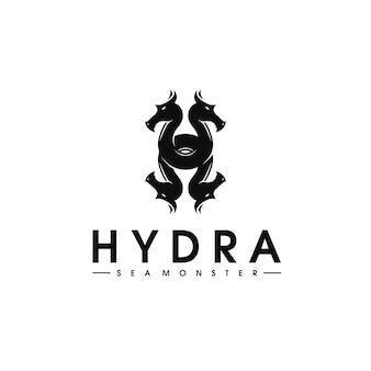 Modelo de logotipo do hidra mar monstro letra h