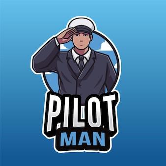 Modelo de logotipo do homem piloto isolado em azul