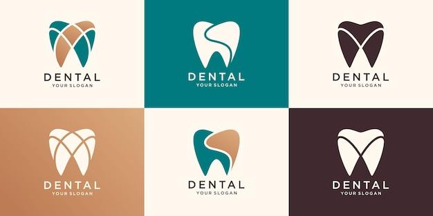 Modelo de logotipo do ícone de atendimento odontológico