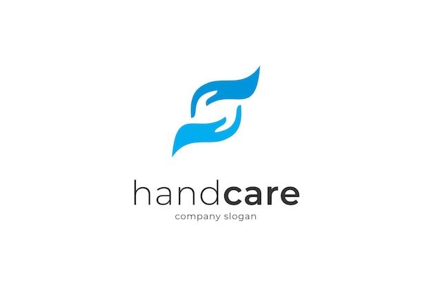 Modelo de logotipo do ícone de cuidados com as mãos