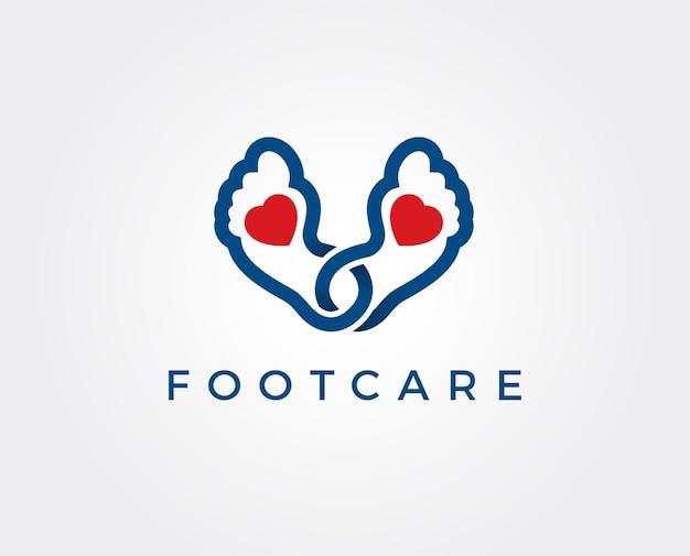 Modelo de logotipo do ícone de pés e cuidados, cuidados de saúde para pés e tornozelos
