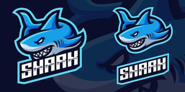 Modelo de logotipo do jogo angry shark mascot para esports streamer facebook youtube