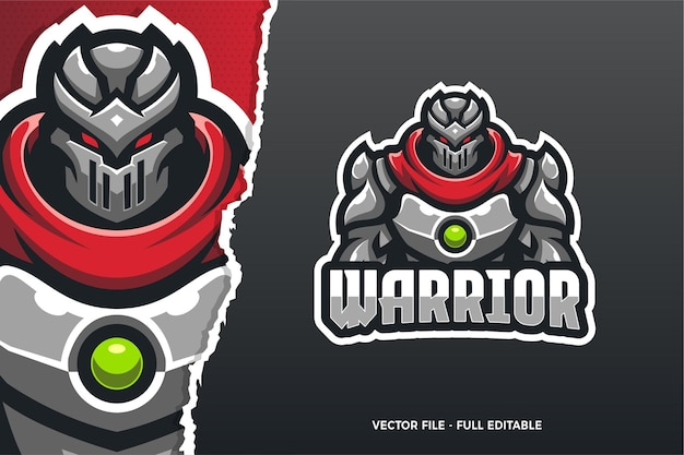 Modelo de logotipo do jogo robot warrior e-sport