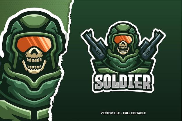 Modelo de logotipo do jogo skull soldier e-sport