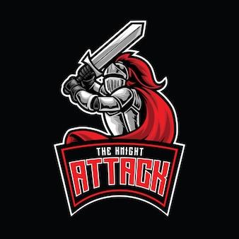 Modelo de logotipo do knight attack esport