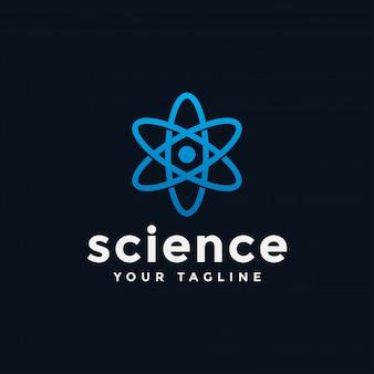 Modelo de logotipo do laboratório de ciências atômica