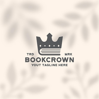 Modelo de logotipo do livro coroa educação