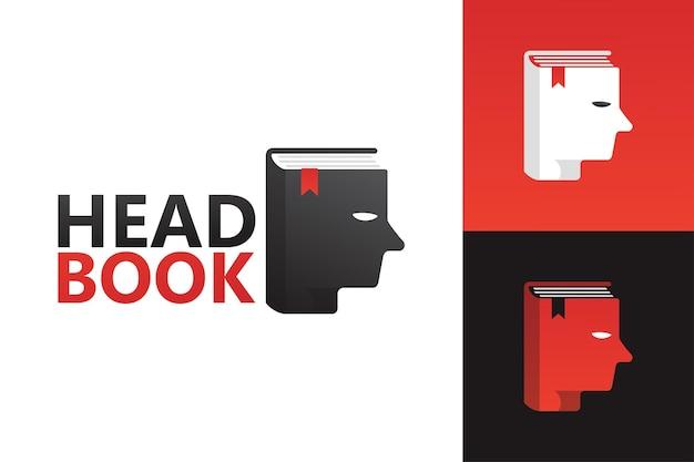 Modelo de logotipo do livro principal vetor premium