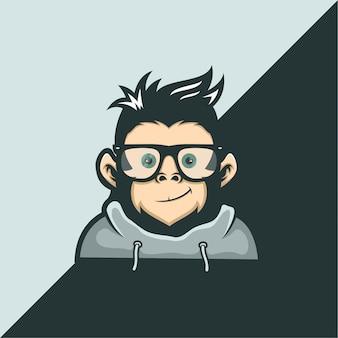 Modelo de logotipo do macaco geek