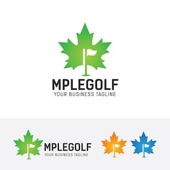 Modelo de logotipo do maple golf