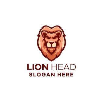 Modelo de logotipo do mascote de cabeça de leão Vetor Premium