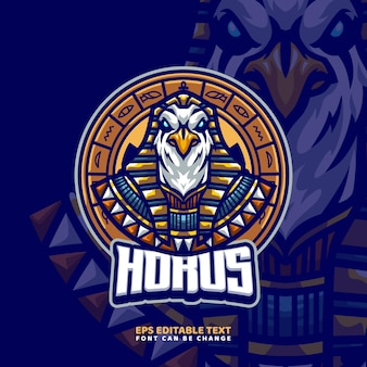 Modelo de logotipo do mascote de deus egípcio de hórus