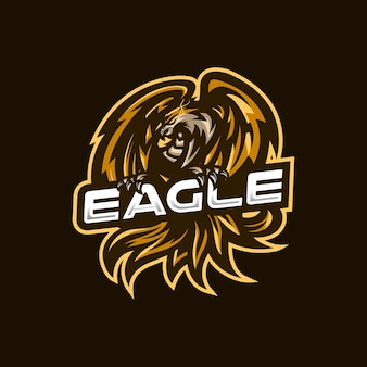 Modelo de logotipo do mascote de gaming eagle esport para equipe de streamer.