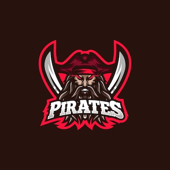 Modelo de logotipo do mascote de jogos pirates esport