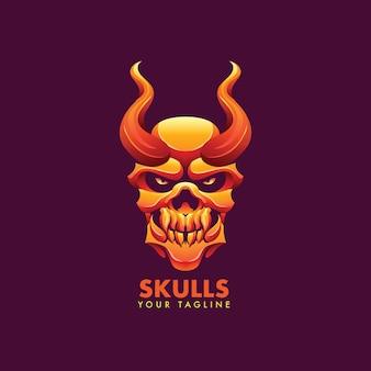 Modelo de logotipo do mascote do crânio para a equipe esport e logotipo do esporte