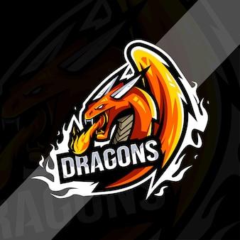 Modelo de logotipo do mascote do dragão