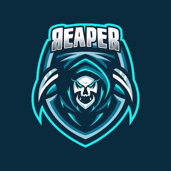 Modelo de logotipo do mascote do jogo grim reaper esport