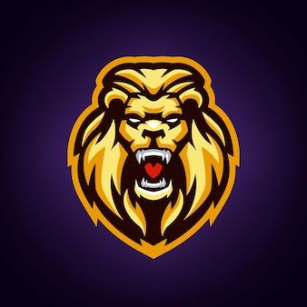 Modelo de logotipo do mascote do leão