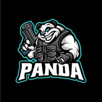 Modelo de logotipo do mascote do panda atirador