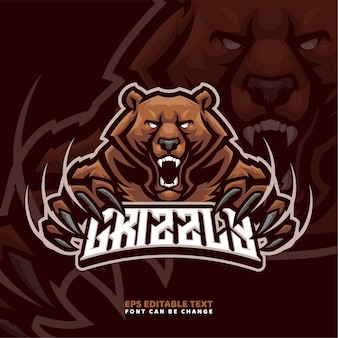 Modelo de logotipo do mascote do urso pardo