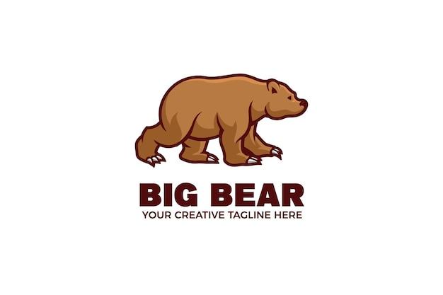 Modelo de logotipo do mascote dos desenhos animados do urso