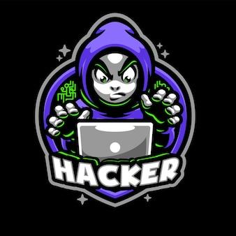 Modelo de logotipo do mascote hood hacker