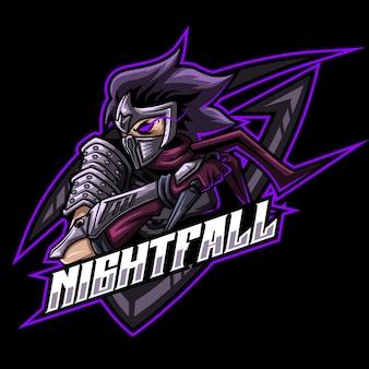 Modelo de logotipo do mascote ninja shuriken