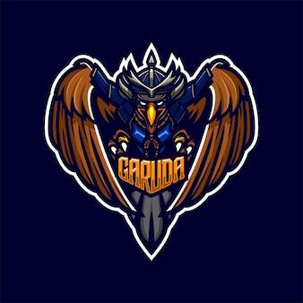 Modelo de logotipo do mascote premium eagle samurai knight