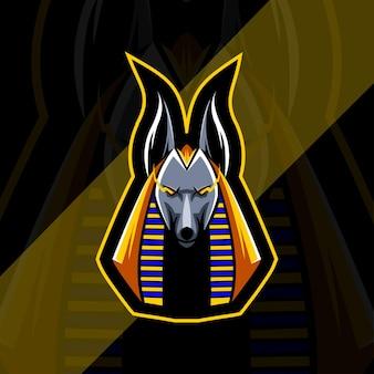 Modelo de logotipo do mascote principal do anubis