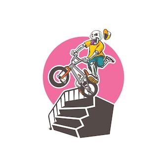 Modelo de logotipo do mascote skeleton bike - imagem vetorial