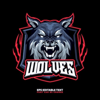 Modelo de logotipo do mascote wolf para equipe esport e logotipo esportivo