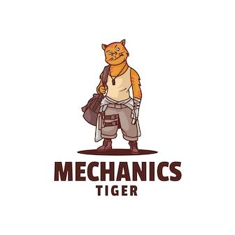 Modelo de logotipo do mechanics mascot cartoon style