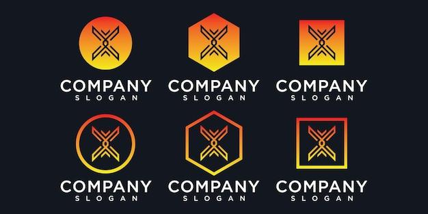Modelo de logotipo do monograma com iniciais x linha