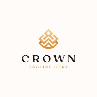 Modelo de logotipo do monograma crown golden gradient color