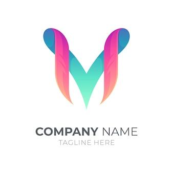 Modelo de logotipo do monograma das letras m e v