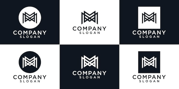 Modelo de logotipo do monograma letra m. ícones para negócios de moda, esporte, automotivo