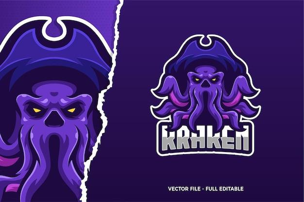 Modelo de logotipo do monster kraken e-sport Vetor Premium