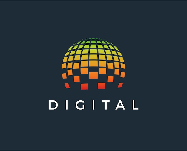 Modelo de logotipo do mundo digital