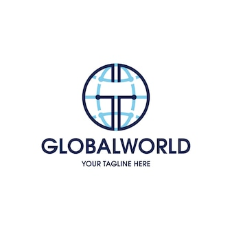 Modelo de logotipo do mundo global